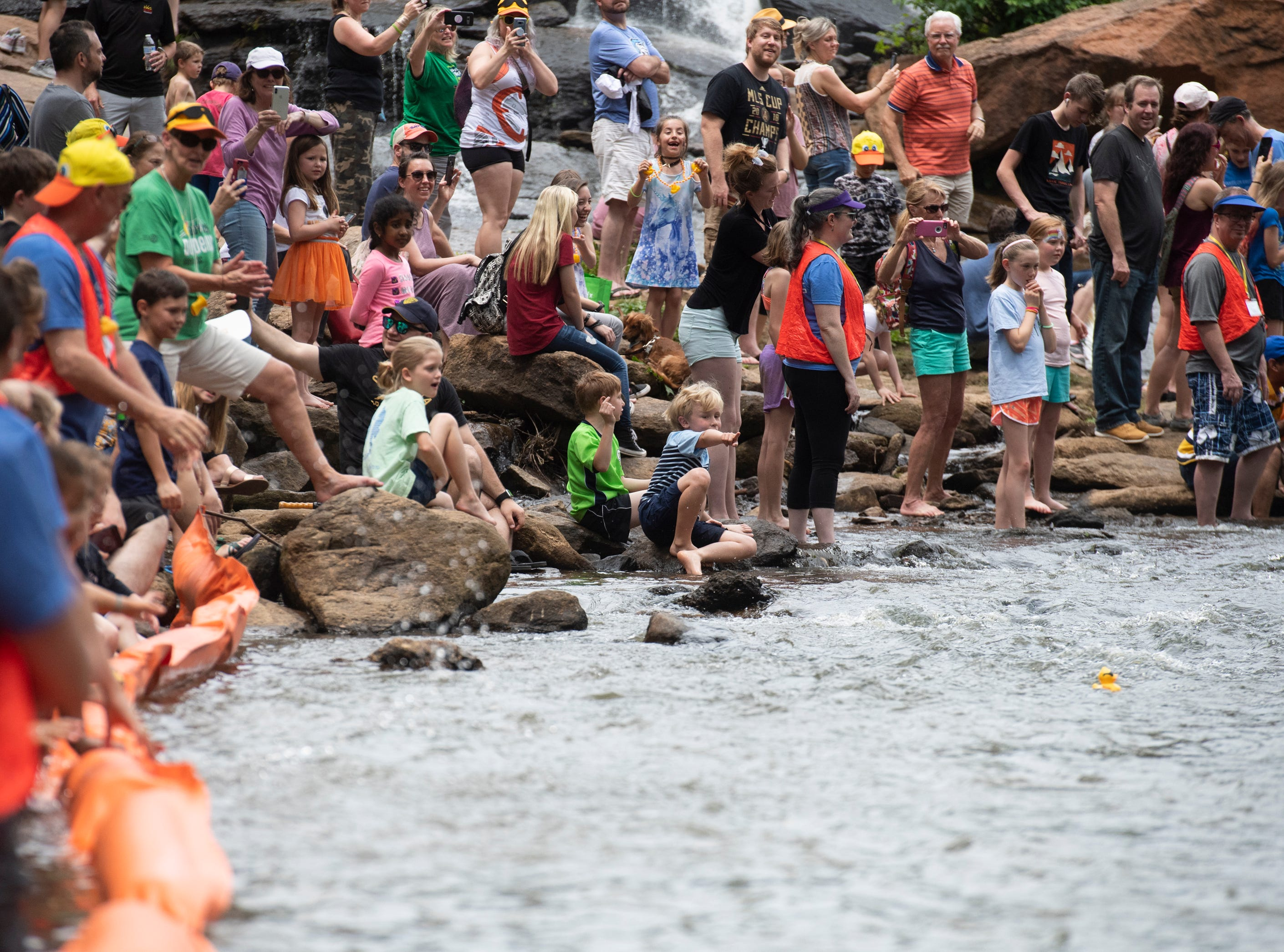 People watch as the first few rubber ducks take the lead during the 2019 Reedy River Duck Derby in Falls Park on the Reedy Saturday, May 4, 2019.