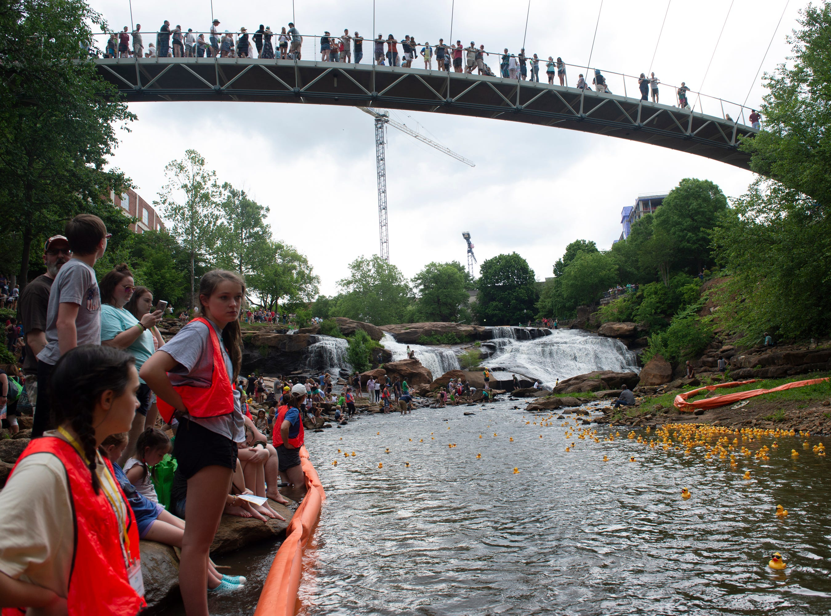 People watch the 2019 Reedy River Duck Derby in Falls Park on the Reedy Saturday, May 4, 2019.