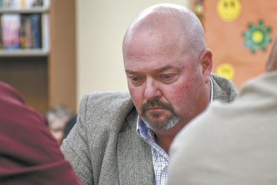Troy Walters at the Tuesday, April 30, special meeting of the Grenoa Public School District No. 99 board meeting.