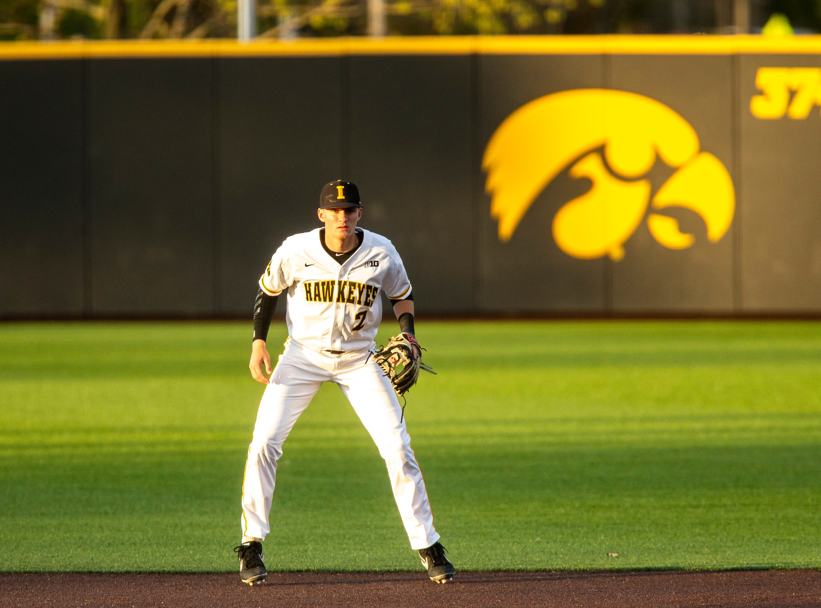Iowa infielder Brendan Sher (2) is pictured during NCAA non conference baseball game, Friday, May 3, 2019, at Duane Banks Field in Iowa City, Iowa.