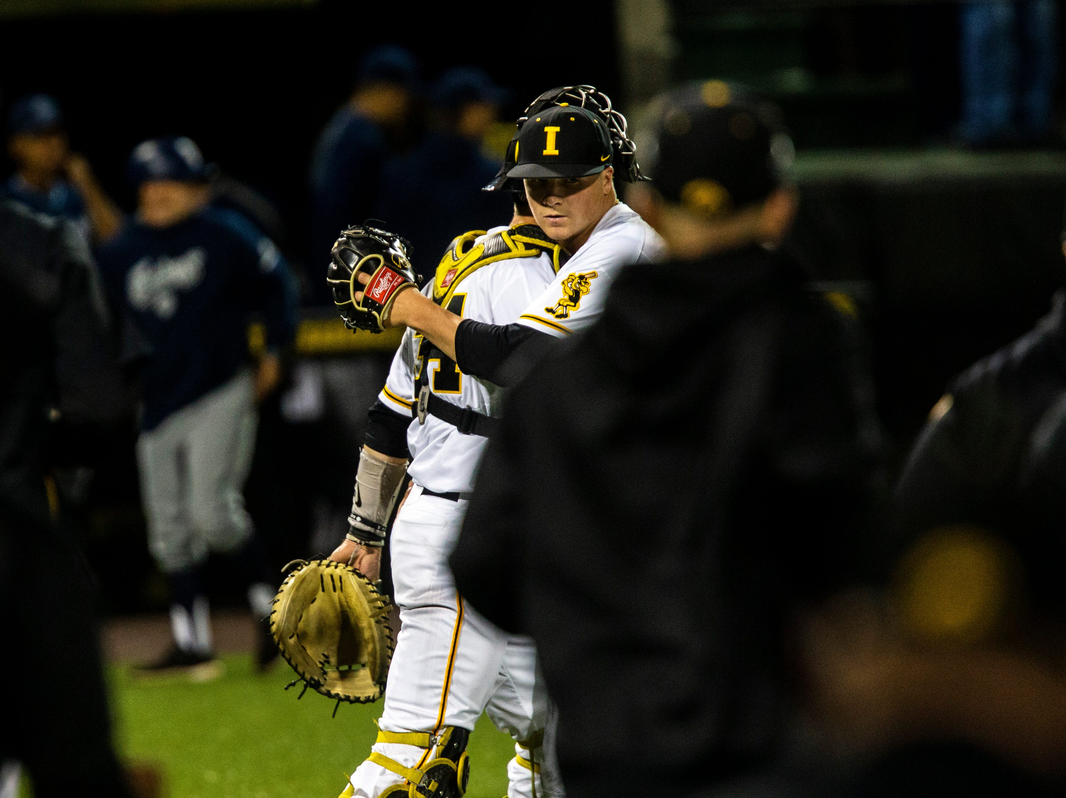 Iowa pitcher Trace Hoffman (42) hugs catcher Austin Martin, left, after NCAA non conference baseball game, Friday, May 3, 2019, at Duane Banks Field in Iowa City, Iowa.