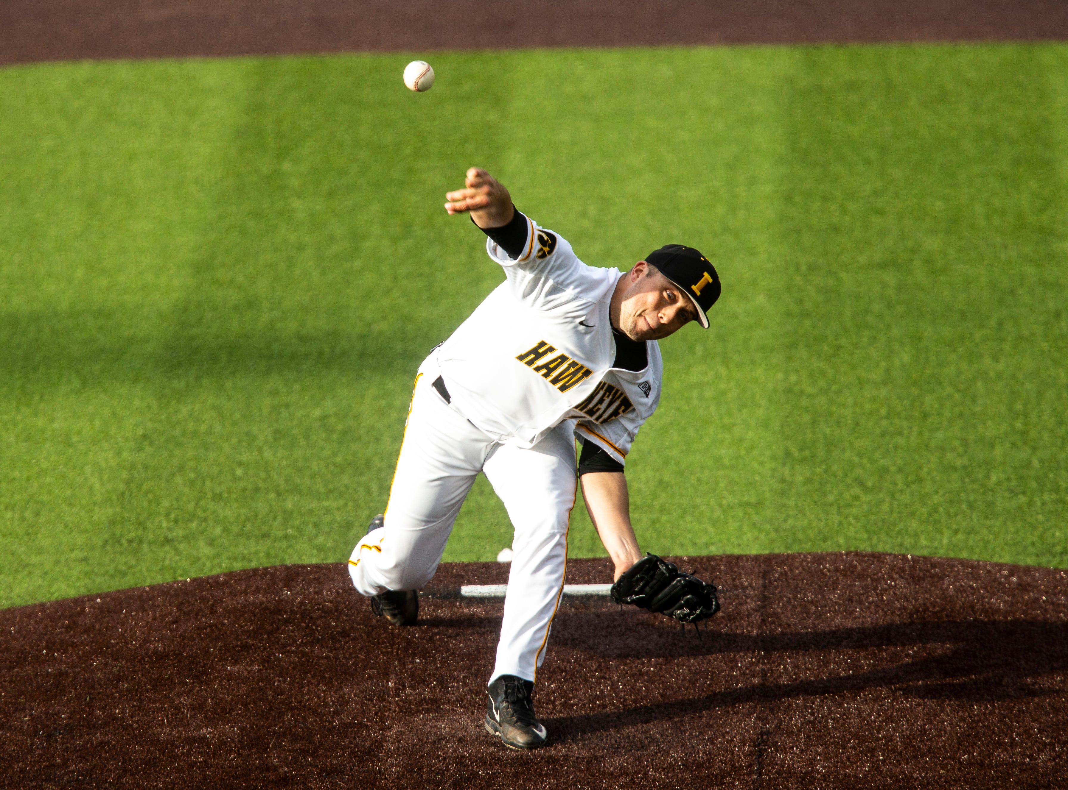 Iowa's Cole McDonald (11) delivers a pitch during NCAA non conference baseball game, Friday, May 3, 2019, at Duane Banks Field in Iowa City, Iowa.