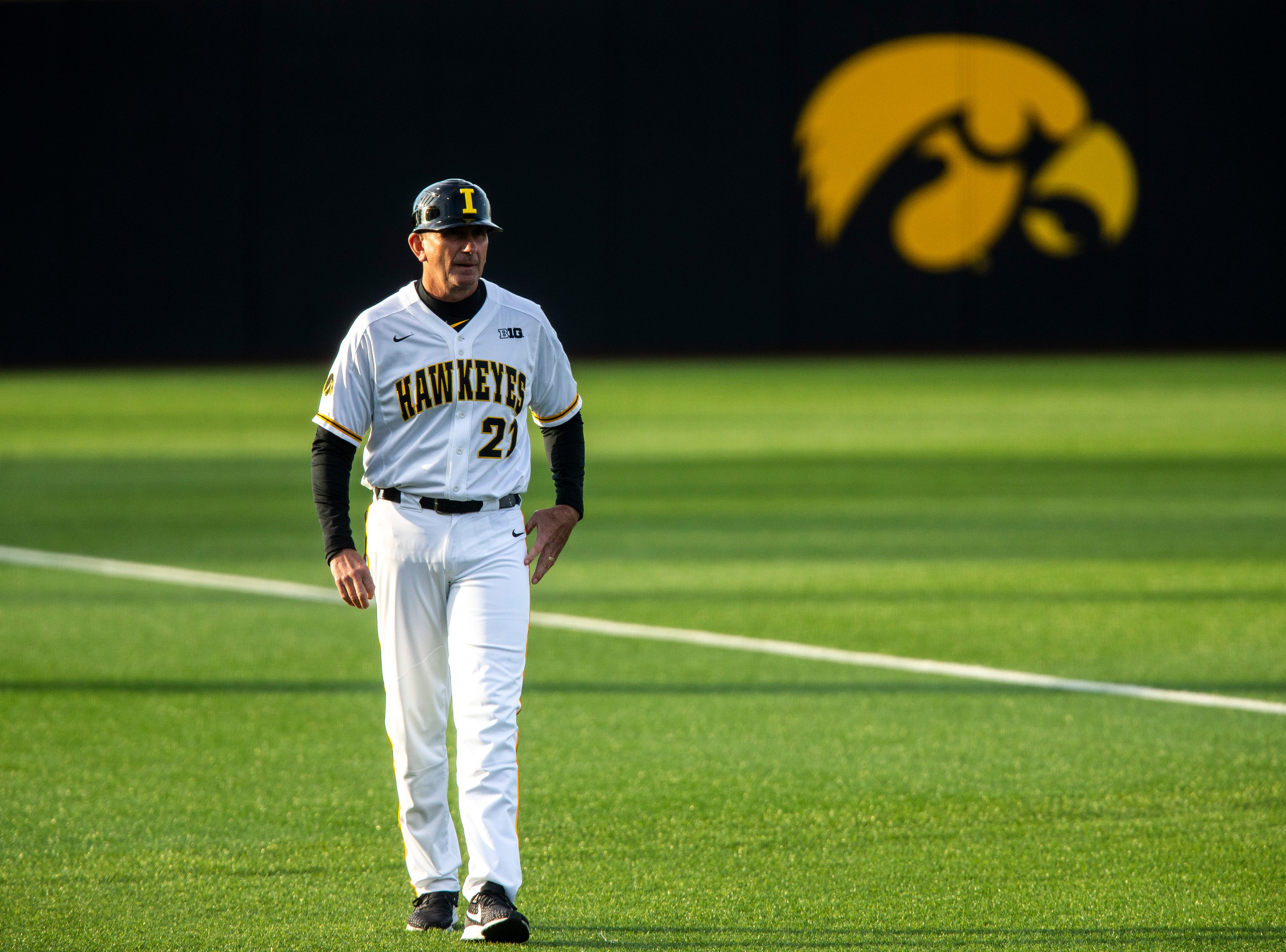 Iowa head coach Rick Heller stands along the third baseline during NCAA non conference baseball game, Friday, May 3, 2019, at Duane Banks Field in Iowa City, Iowa.