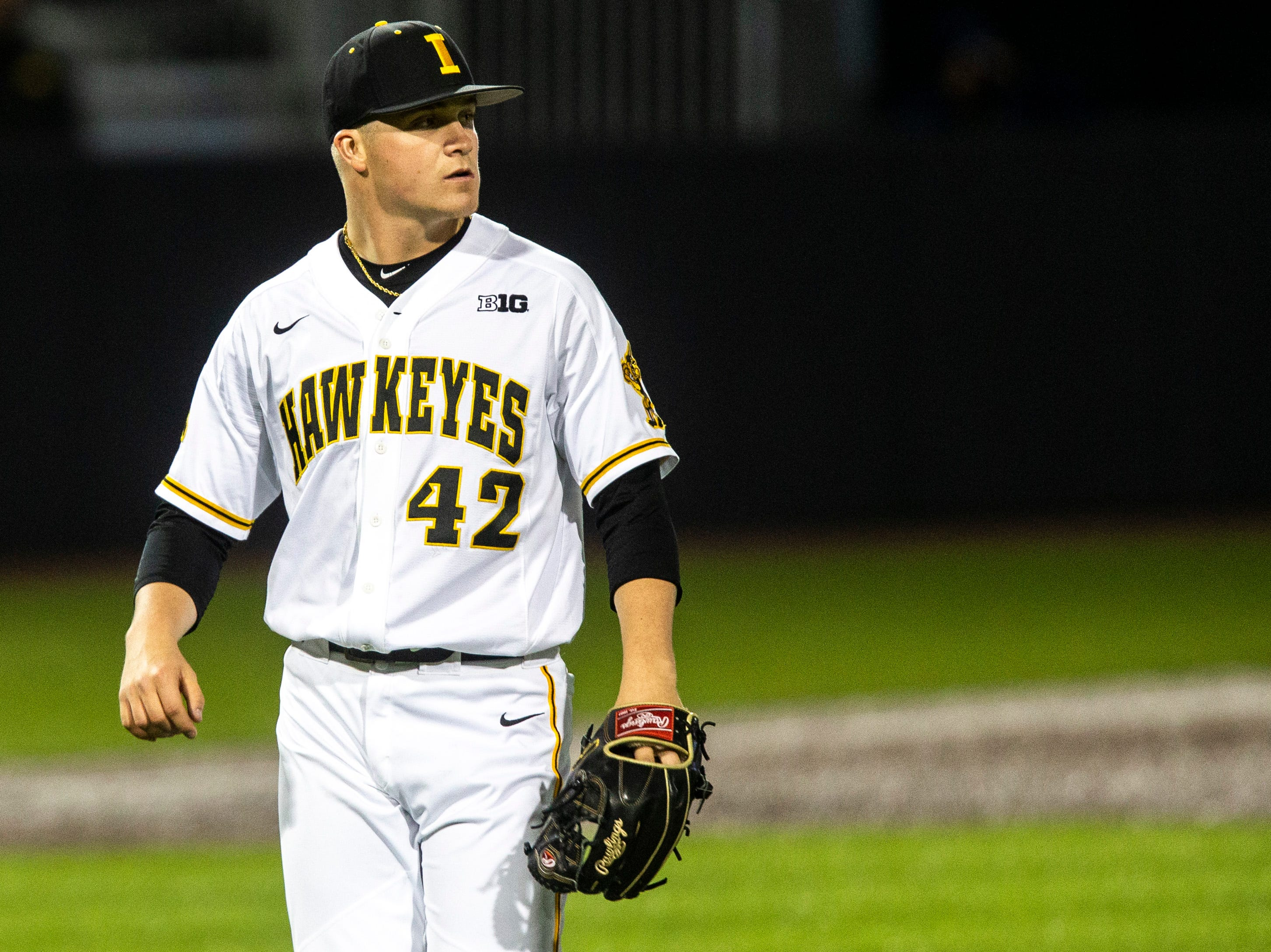 Iowa pitcher Trace Hoffman (42) is pictured during NCAA non conference baseball game, Friday, May 3, 2019, at Duane Banks Field in Iowa City, Iowa.