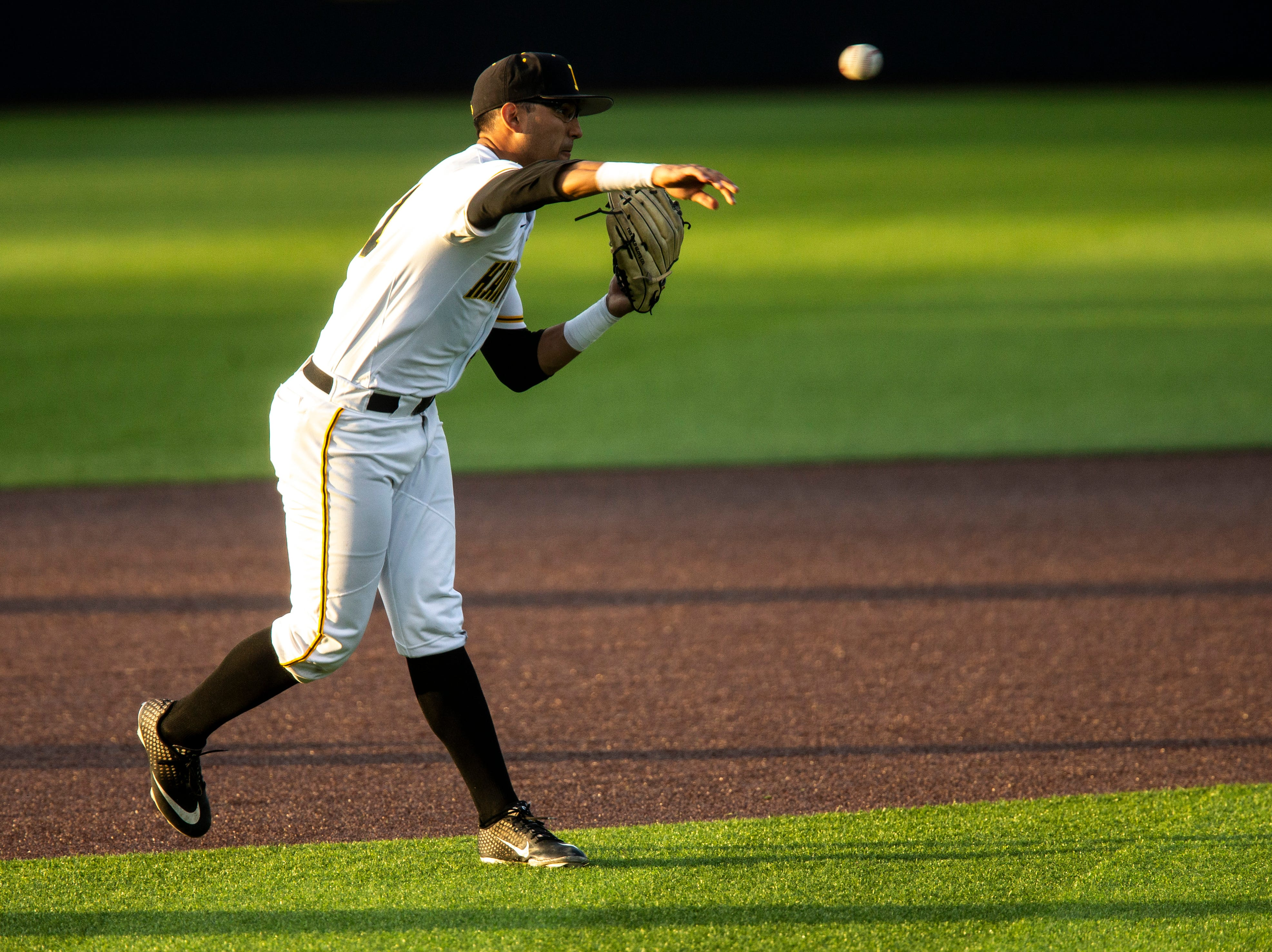 Iowa infielder Matthew Sosa (31) fields a ball during NCAA non conference baseball game, Friday, May 3, 2019, at Duane Banks Field in Iowa City, Iowa.