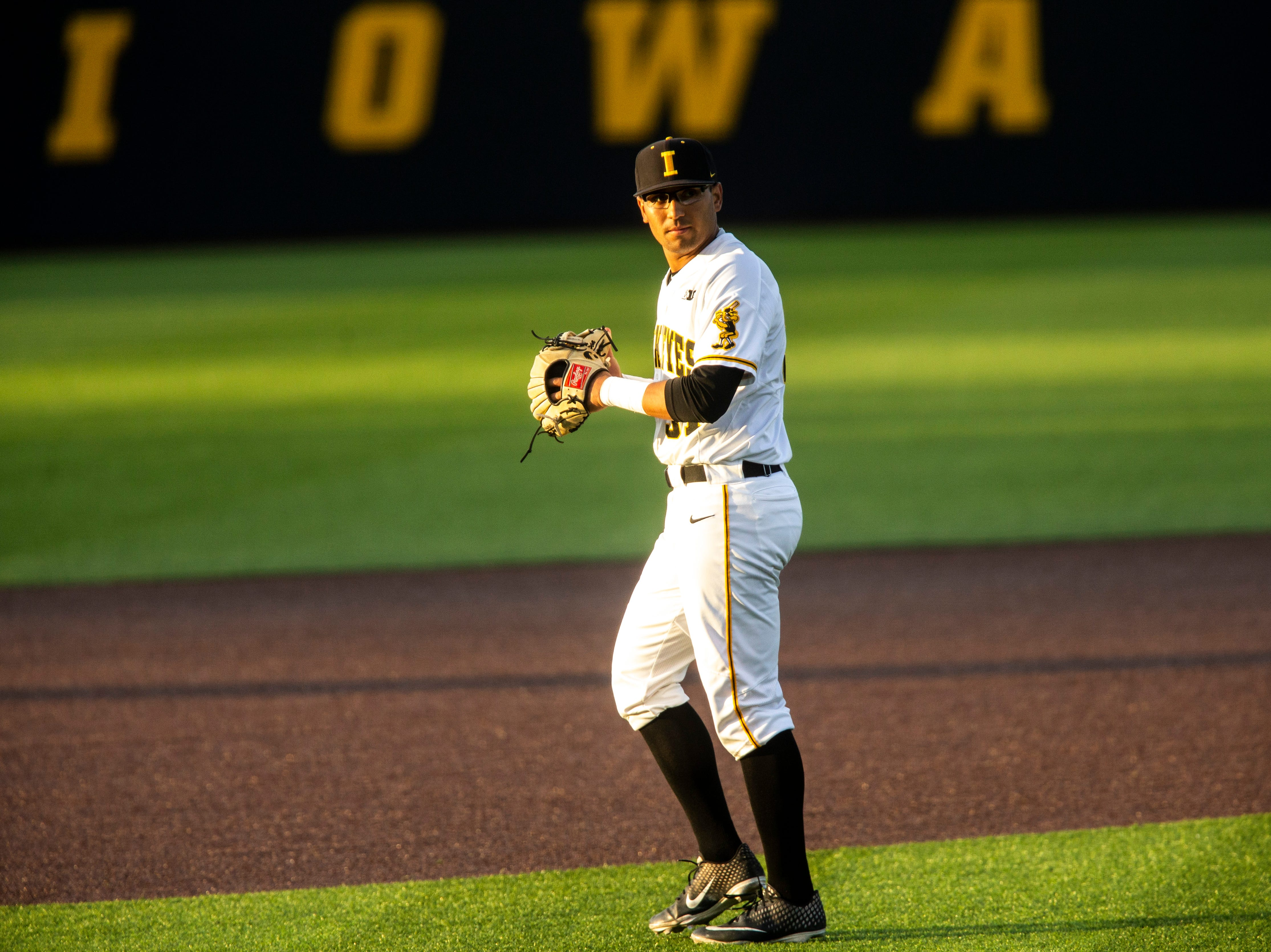 Iowa infielder Matthew Sosa (31) is pictured during NCAA non conference baseball game, Friday, May 3, 2019, at Duane Banks Field in Iowa City, Iowa.