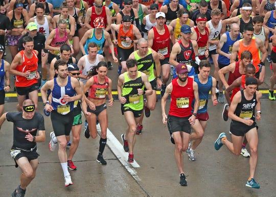 Runners start the OneAmerica 500 Festival Mini-Marathon, Saturday, May 4, 2019.