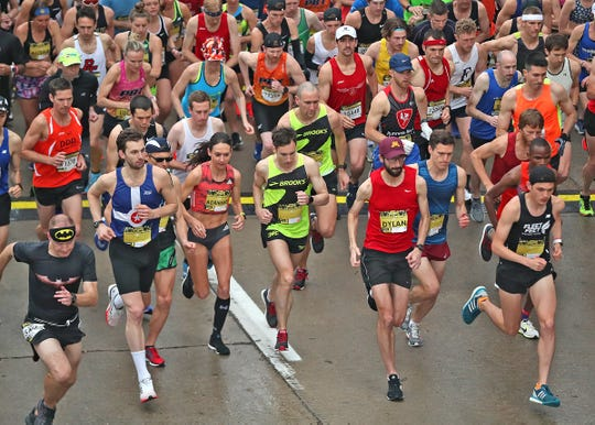 Runners start the OneAmerica 500 Festival Mini-Marathon, Saturday, May 4, 2019.