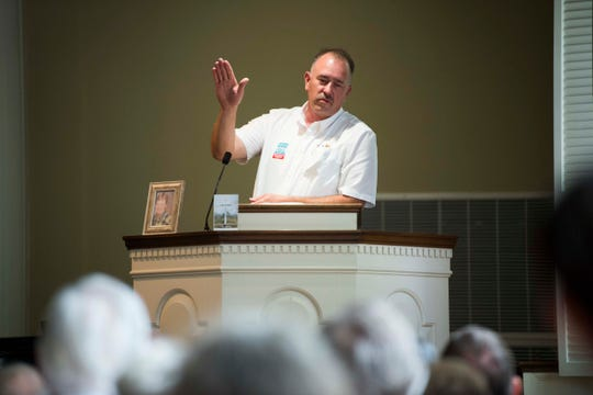 Jeff Brewer, a Kingston coal ash worker speaks at a Workers Memorial Day ceremony at the First Presbyterian Church of Knoxville in downtown Knoxville, Saturday, May 4, 2019.