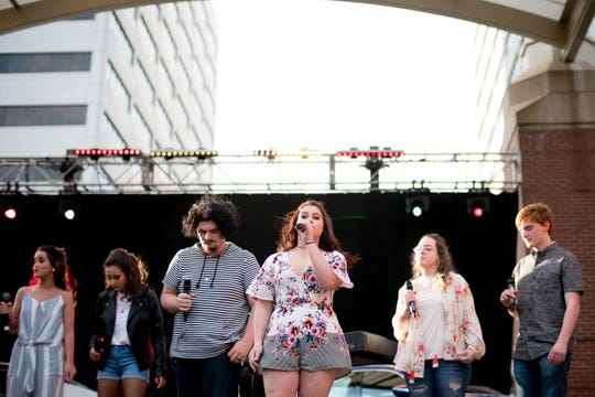 Abby McNew of Fulton performs with the other contestants at the ninth annual CTE Goes Live performance in Market Square in Knoxville, Tennessee on Friday, May 3, 2019.