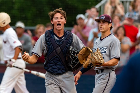 Catcher Andrew Guidry reacts as STM takes on E.D. White in the Division II quarterfinals Friday.