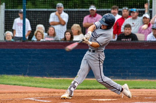 Jake LaPrairie takes a swing Friday during Game 2 of the Division II quarterfinals against E.D. White.
