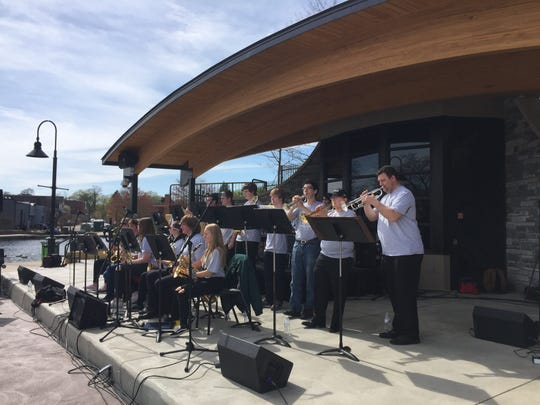 The Brighton High School Jazz Band was the first musical act to perform Brighton's newly renovated The AMP, an amphitheater at the city's Mill Pond, Saturday, May 4, 2019.