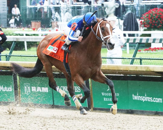 Mr. Money, ridden by Gabriel Saez, wins the $400,000 Grade 3 Pat Day Mile at Churchill Downs on Saturday, May 4, 2019.