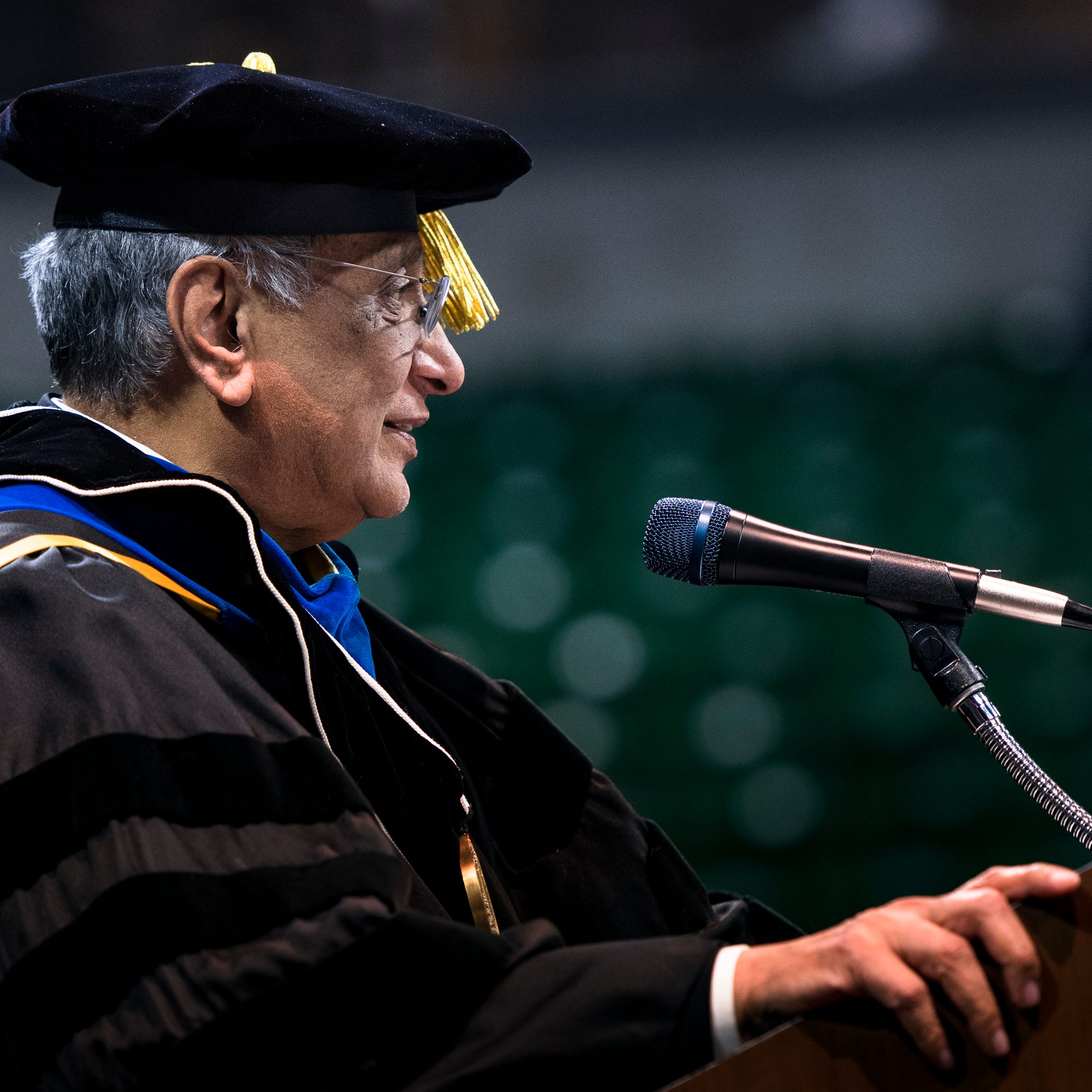 Acting MSU President Udpa hospitalized after falling during commencement ceremony