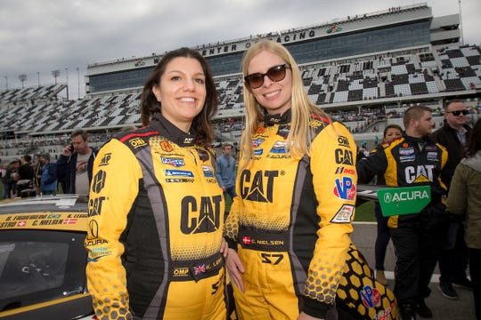 Christina Nielsen, right, and Katherine Legge make up an all-female race team under Heinricher Racing with Meyer-Shank Racing Acura, a team based in Pataskala, Ohio, at this weekend's Acura Sports Car Challenge at Mid-Ohio.