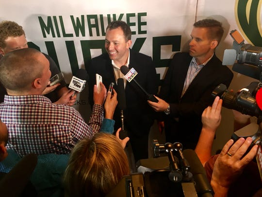 Bucks general manager Jon Horst talks to the media at his introductory news conference on June 19, 2017.