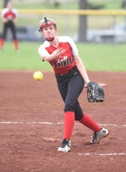 Norfork pitcher Macey Cox delivers to the plate Friday night against Armorel.