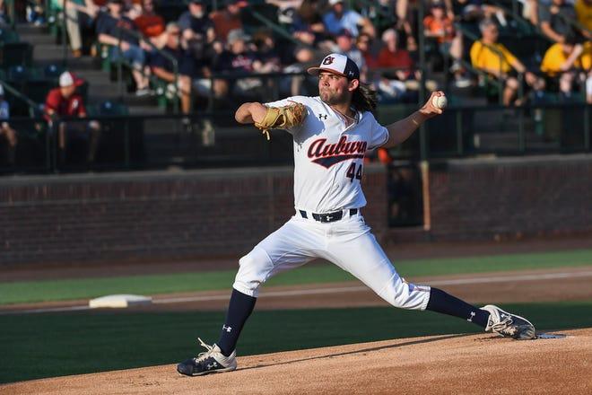 Auburn's Jack Owen (44) pitches against Alabama on Friday, May 3, 2019, in Auburn, Ala.