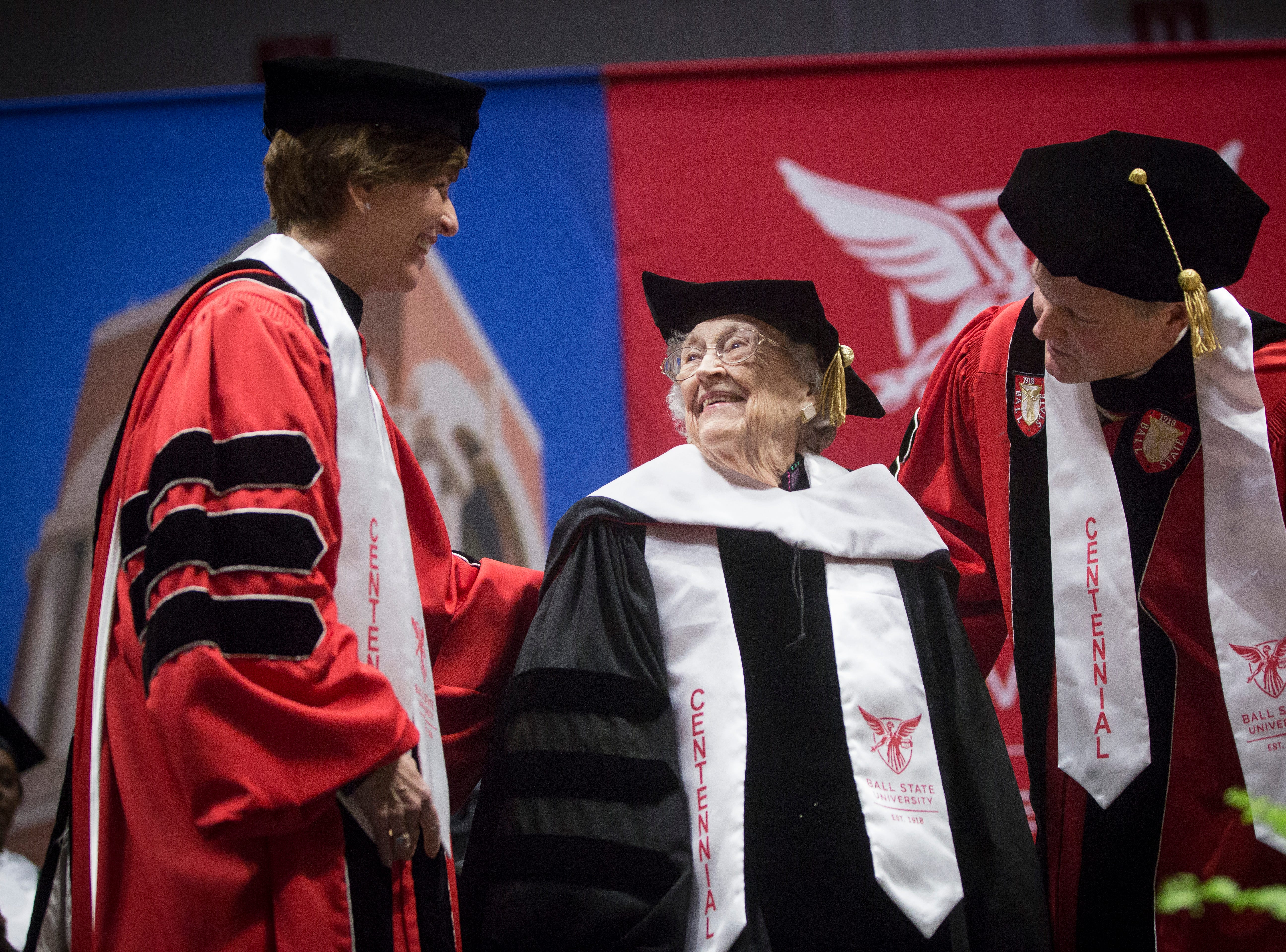 Lucina Ball Moxley, a 100-year-old descendant of the Ball family accepts an honorary doctorate of arts from the university on May 4 during Ball State University's Spring Commencement inside Worthen Arena. Moxley is the granddaughter of William C. Ball, one of the five Ball brothers who founded the University a century ago.