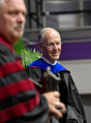 Retiring university provost Dr. Steve Pusey was honored as the recipient of the Lyla T. Mackey Diakonos Award, given on rare occasions to individuals who have exhibited extraordinary service to the University community or Christian higher education. Saturday, May 4, 2019, in Nashville, Tenn.