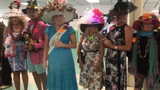 Contestants show off their derby hats during the annual best Derby hat competition, Saturday, May 4, 2019 at Naples-Fort Myers Greyhound Track