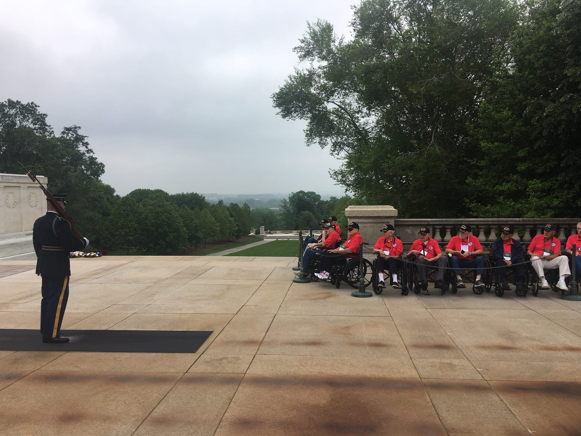 Collier-Lee Honor Flight veterans are position to witness the changing of the guard ceremony at the Tomb of the Unknowns at Arlington National Cemetery on Saturday, May 4, 2019.