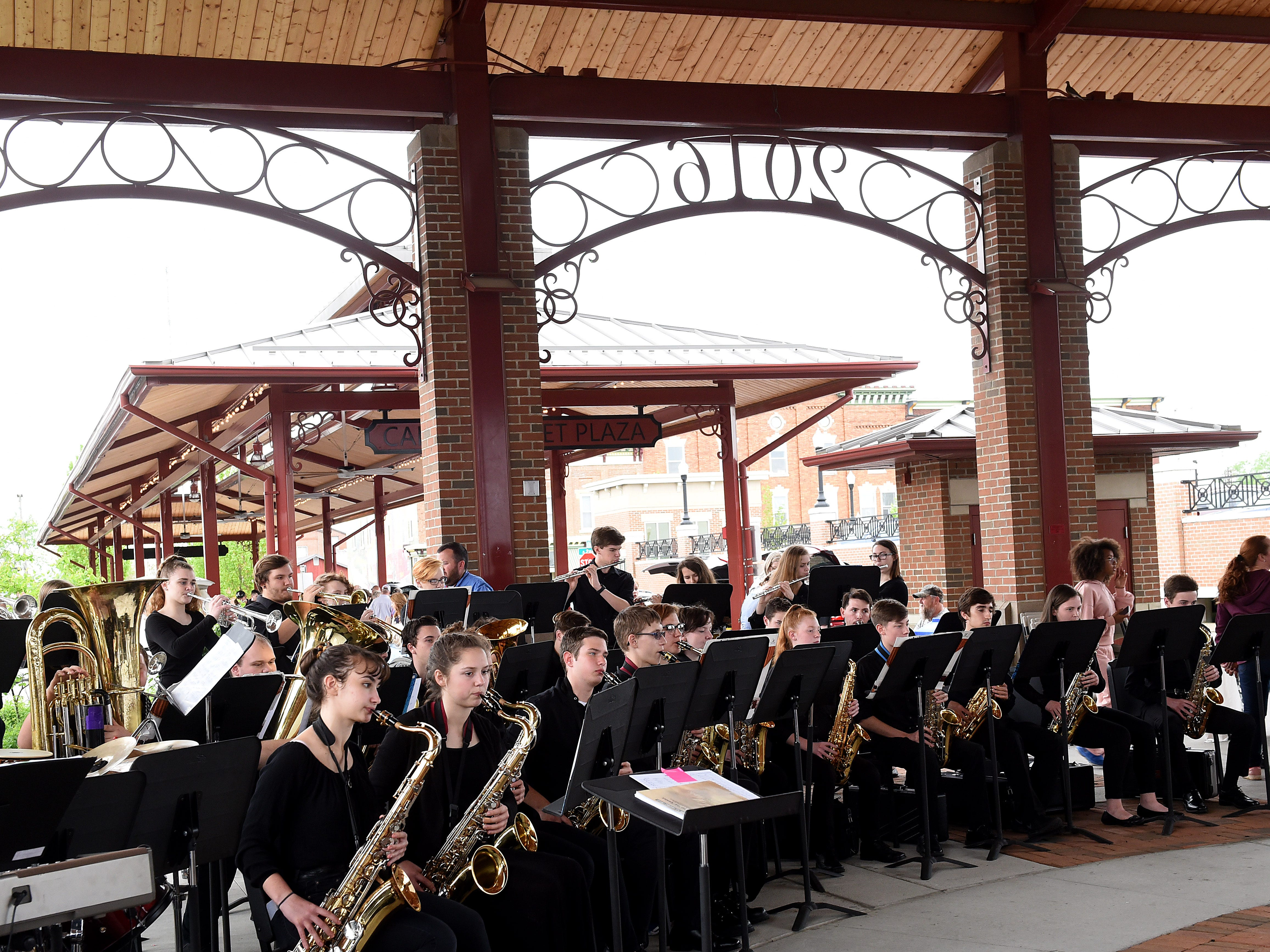 Newark High School's Jazz Ensemble performs at The Canal Market District on Friday, May 3, 2019. The open air farmers market kicked off its fourth season with music and local food.