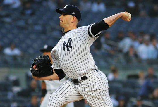New York Yankees starting pitcher James Paxton (65) pitches against the Minnesota Twins during the first inning at Yankee Stadium.