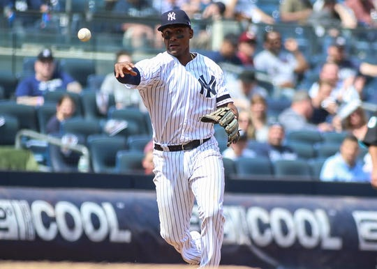May 4, 2019; Bronx, NY, USA; New York Yankees third baseman Miguel Andujar (41) throws out  a runner to end the fifth inning against the Minnesota Twins at Yankee Stadium.