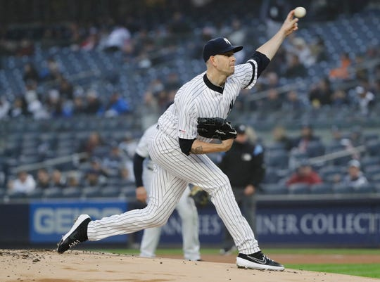 New York Yankees' James Paxton delivers a pitch during the first inning of the team's game against the Minnesota Twins on Friday, May 3, 2019, in New York.