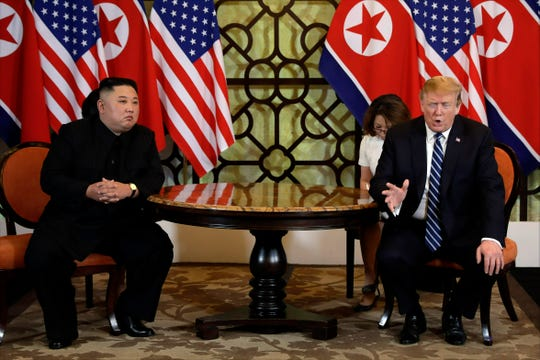 FILE - In this Feb. 28, 2019, file photo, U.S. President Donald Trump, right, meets North Korean leader Kim Jong Un in Hanoi, Vietnam.  The South Korean Joint Chiefs of Staff says North Korea has fired several unidentified short-range missiles from its eastern coast. The firing Saturday, May 4, comes amid a diplomatic breakdown that has followed the failed summit earlier this year between President Donald Trump and North Korean leader Kim Jong Un over the North's pursuit of a nuclear arsenal that can target the U.S. mainland.
