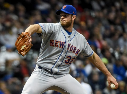 May 3, 2019; Milwaukee, WI, USA; New York Mets pitcher Steven Matz (32) throws a pitch in the first inning against the Milwaukee Brewers at Miller Park.