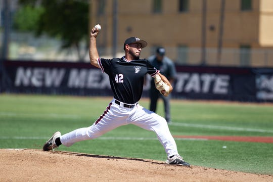 New Mexico State pitcher Aldo Fernandez delivers against Texas Rio Grande Valley on Saturday at Presley Askew Field.