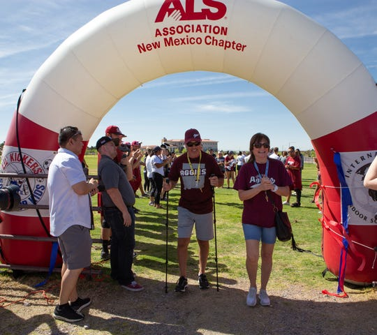 New Mexico State baseball alum Todd Watkins was the guest of honor at the 2019 Walk to Defeat ALS held at Lou and Pat Sisbarro Park on the NMSU campus on Saturday.