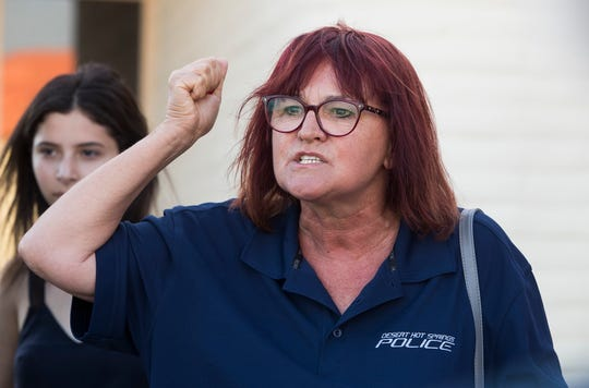 Desert Hot Springs resident Donna Poyuzina speaks in favor of Desert Hot Springs Police Chief Dale Mondary at the Desert Hot Springs Police Station on May 3, 2019.