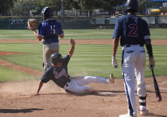 Miles Dille of La Quinta scores against Temescal Canyon, May 3, 2019.