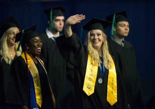 "University of West Florida students celebrate at their spring commencement May 9 at the Pensacola Bay Center. UWF was Florida's top-ranked regional public university, the 15th ranked public regional university in the South and No. 34 among all 136 public and private regional universities in the South in U.S. News & World Report's ""2020 Best Colleges"" rankings."