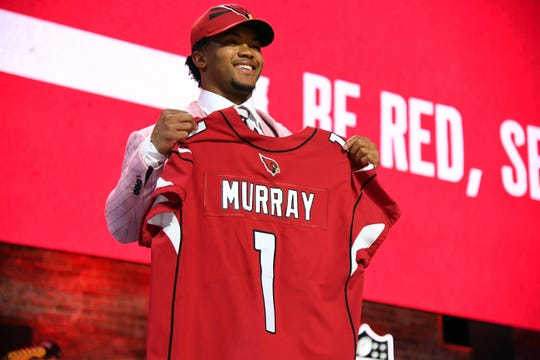 Apr 25, 2019: Kyler Murray (Oklahoma) is selected as the number one overall pick to the Arizona Cardinals in the first round of the 2019 NFL Draft in Downtown Nashville.