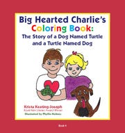 """Krista Keating-Joseph read her latest book, """"Big Hearted Charlie's Coloring Book: The Story of a Dog Named Turtle and a Turtle Named Dog"""" for a group of first grade students at Kyrene Traditional Academy on May 3, 2019, the three year anniversary of her son's death."""