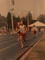 Charlie H. Keating, age 9, competes in a national running competition.