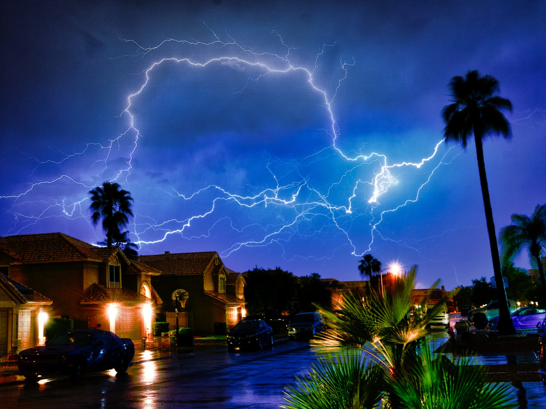 The sky lights up with an incredible lightning show in our neighborhood.