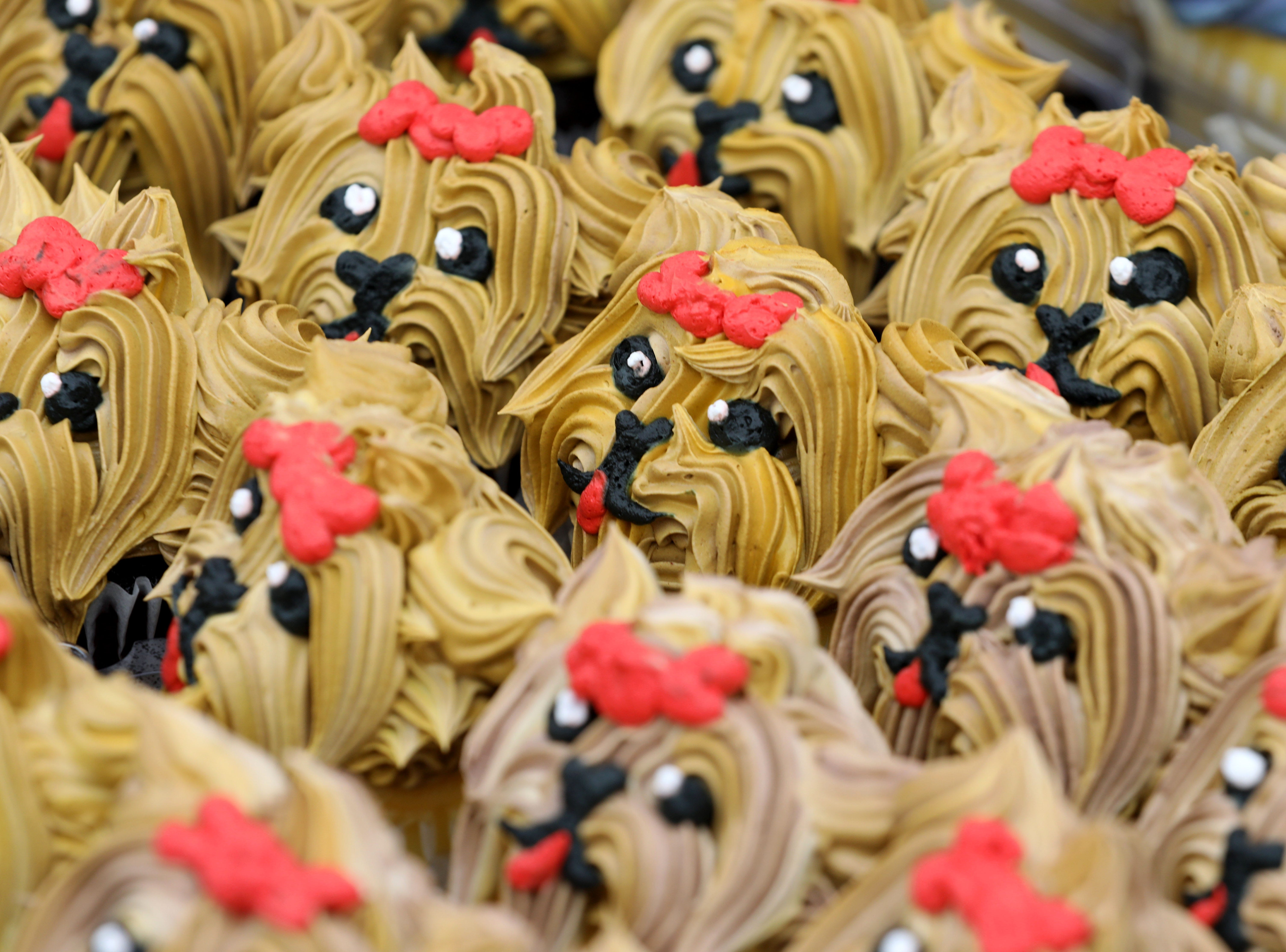Elaborate dog frosted cupcakes from the Acme Supermarkets booth are pictured during the K104.7 Cupcake Festival at the Stormville Airport, May 4, 2019. See more photos and a video at Poughkeepsiejournal.com.