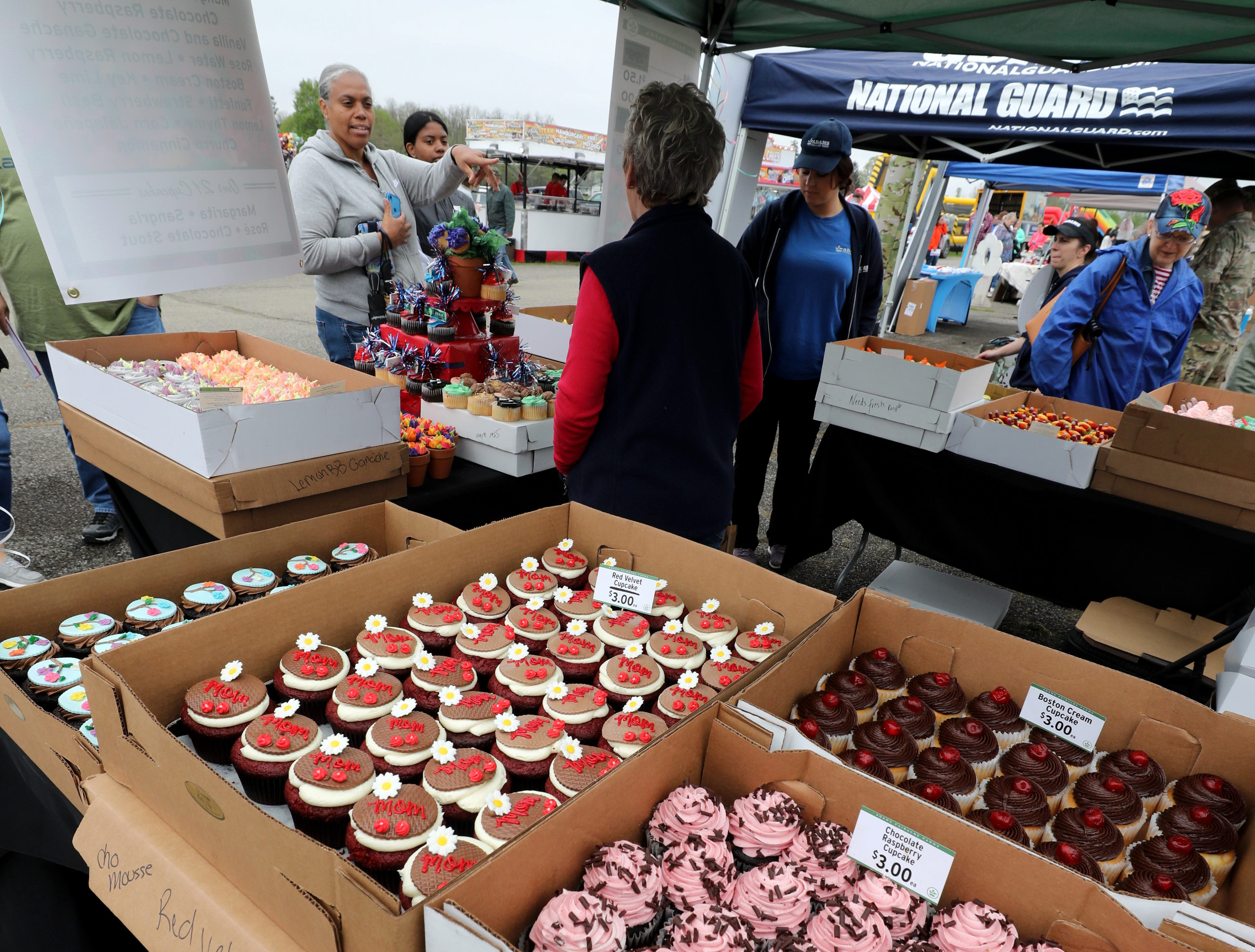 A variety of cupcakes at the Adam's Fairacre Farms booth are pictured at the K104.7 Cupcake Festival at the Stormville Airport, May 4, 2019.