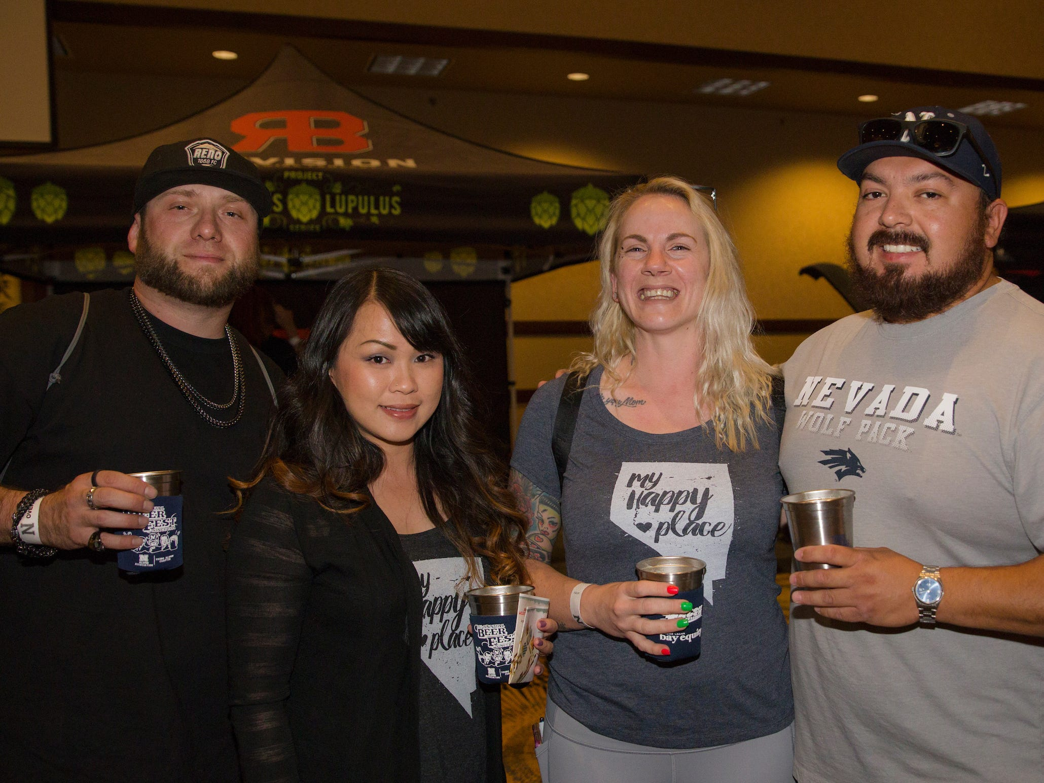 Chris, Krissy, Sara and Maury during the Young Alumni Beer Fest in the Reno Ballroom in downtown Reno on Friday, May 3, 2019.