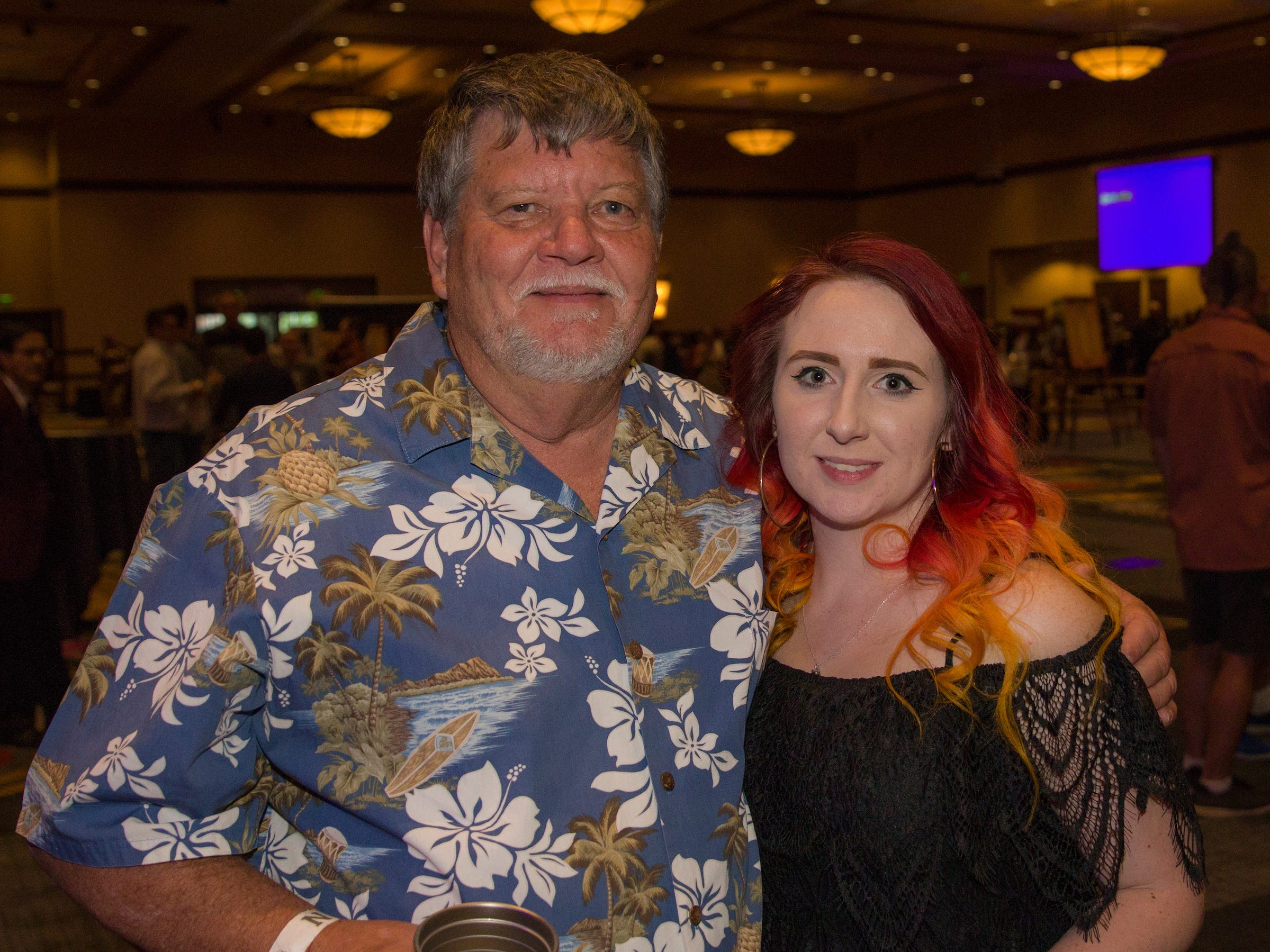 Paul and Caitlyn during the Young Alumni Beer Fest in the Reno Ballroom in downtown Reno on Friday, May 3, 2019.