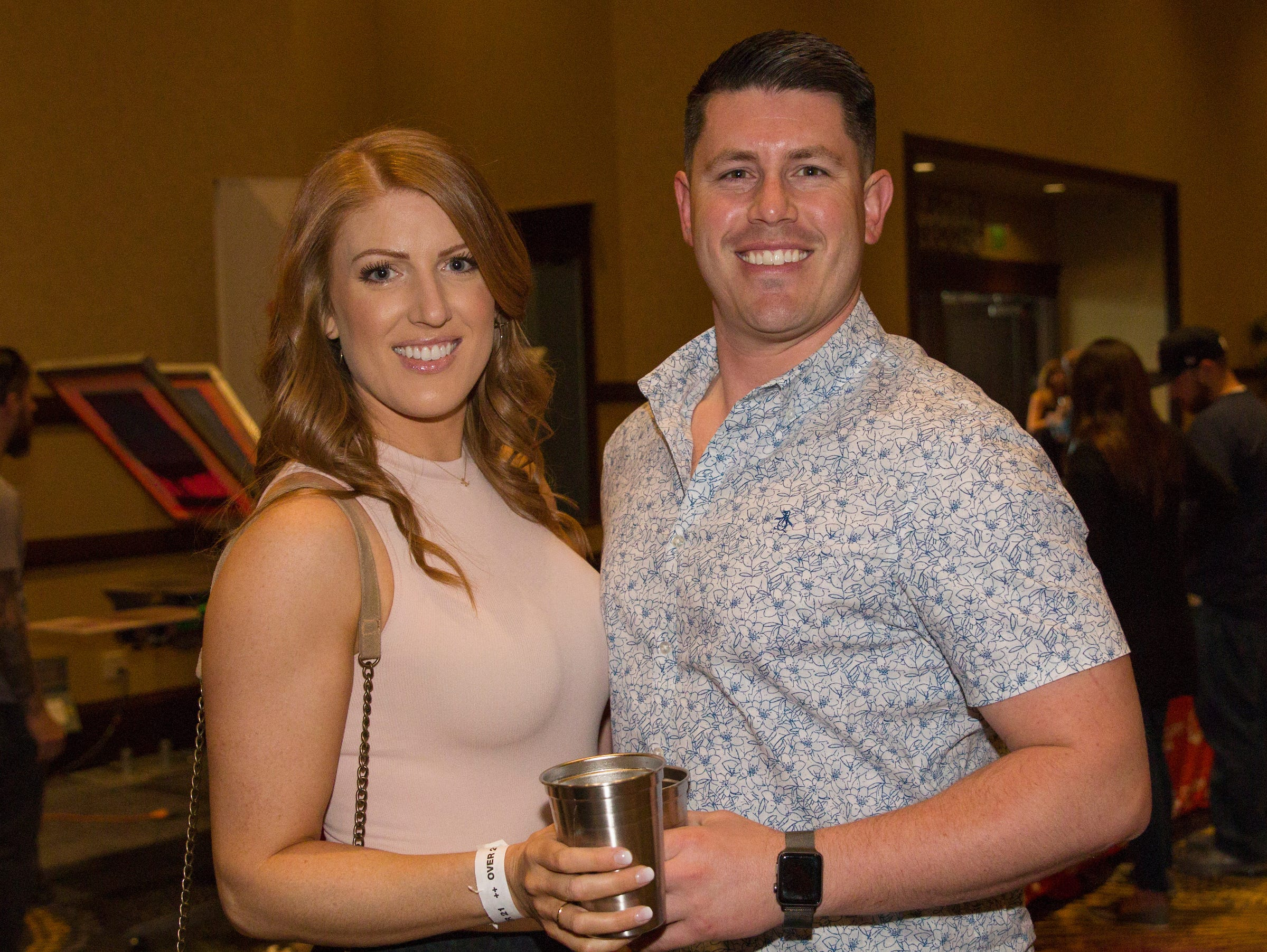Bri and D.J. during the Young Alumni Beer Fest in the Reno Ballroom in downtown Reno on Friday, May 3, 2019.
