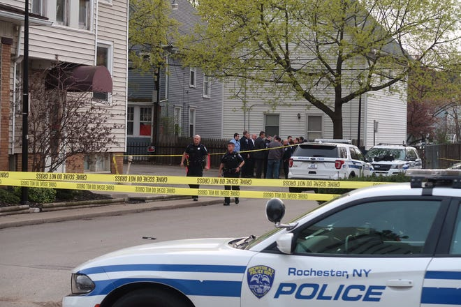 Rochester police on scene at 225 Alexander St. on May 4, 2019.