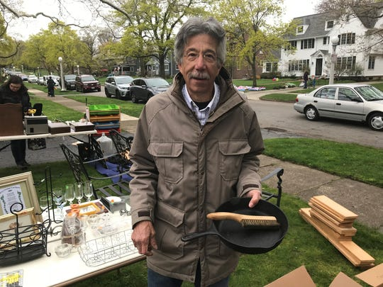Al Hauser, from Erie, buys an iron skillet for $5