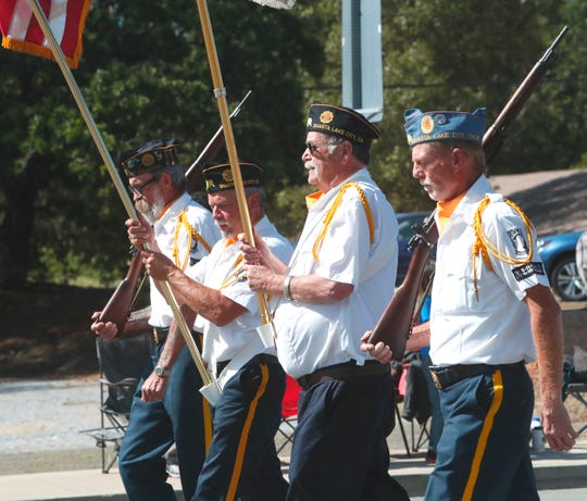 Members of the American Legion Post 720 color guard of Shasta Lake open the Damboree Festival parade Saturday, May 4, 2019.